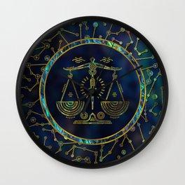 Libra Zodiac Gold Abalone on Constellation Wall Clock
