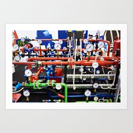 Piping with manometers for industry Art Print