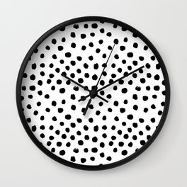 Preppy black and white dots minimal abstract brushstrokes painting illustration pattern print  Wall Clock