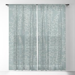 Round Eucalyptus Leaf Toss in Sage Green + Natural Sheer Curtain