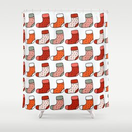 Christmas Stockings Red #Christmas #Holiday Shower Curtain