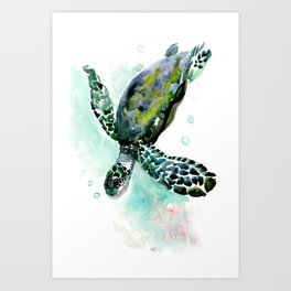 Sea Turtle, underwater scene,  green turquoise beach house design Art Print