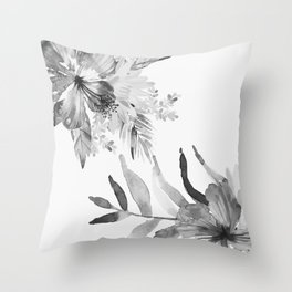 Vintage tropical flowers Throw Pillow