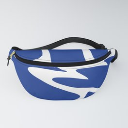 Blue shapes on white background Fanny Pack