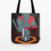 dramatical murder Tote Bags featuring REDRUM//MURDER by Derek Eads