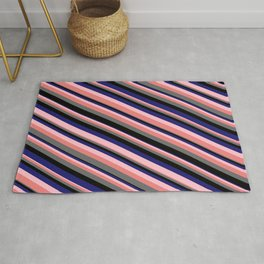 Eye-catching Pink, Light Coral, Dim Grey, Black, and Midnight Blue Colored Stripes Pattern Rug