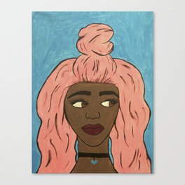 Pink Hair top-knot Canvas Print
