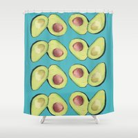 avocado Shower Curtains featuring Avocado by MagentaRose (UK)