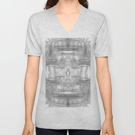 psychedelic graffiti skull art abstract in black and white Unisex V-Neck