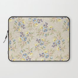 Vintage ivory linen blue yellow gold floral pattern Laptop Sleeve