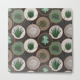 Succulent Embroidery Hoops Metal Print