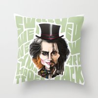 johnny depp Throw Pillows featuring Johnny Depp by Owen Ballesteros