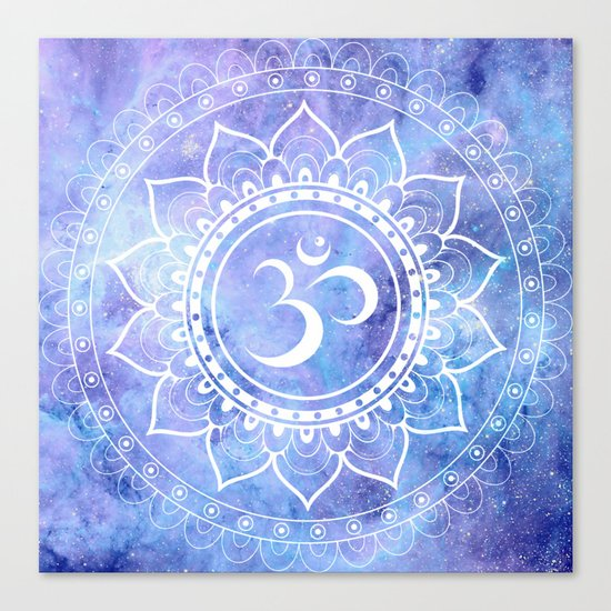 Om Mandala Lavender Perinwinkle Blue Galaxy Space Canvas Print
