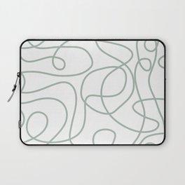 Doodle Line Art | Light Gray Green Lines on White Background Laptop Sleeve