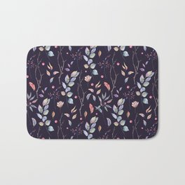 Watercolor natural pattern with twigs Bath Mat