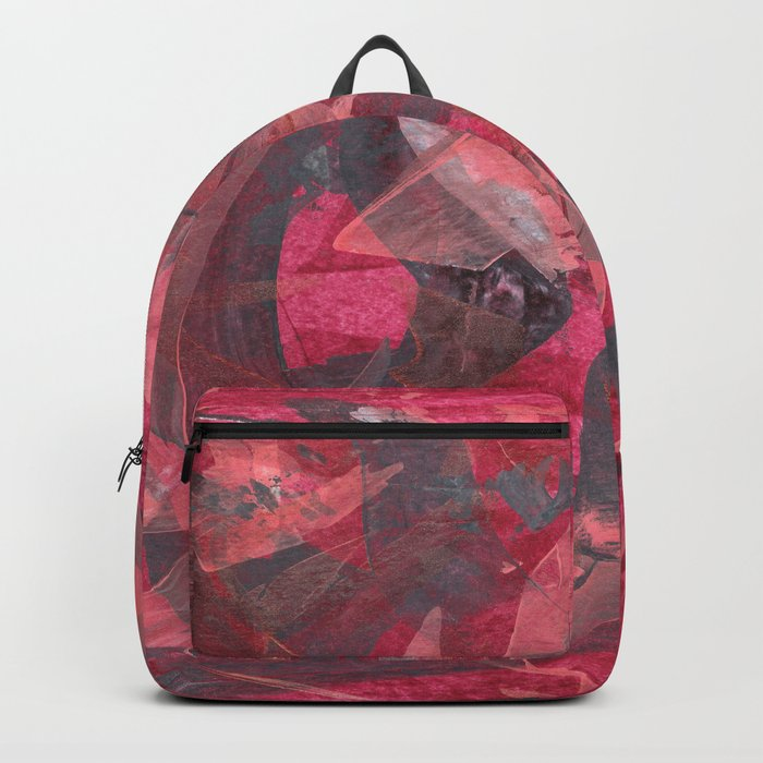 Impetuous, Abstract Art Painting Red Copper Gray Backpack