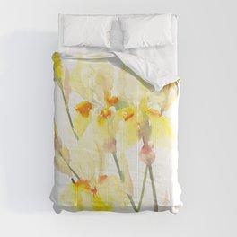 Yellow Irises, Soft yellow Floral Art Comforters