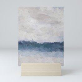 Navy Indigo Blue Water, Lavender Clouds, Beige Sandy Plains Beach, Calm & Relaxing Modern Abstract Painting, Art Print Wall Decor  Mini Art Print