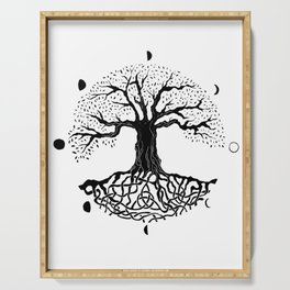 black and white tree of life with moon phases and celtic trinity knot II Serving Tray