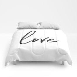 """Handwritten """"Love"""" Comforters"""