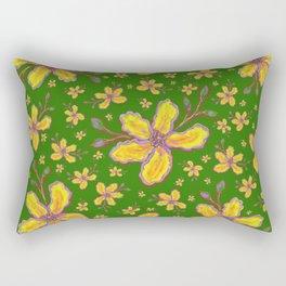 Yellow Flowers on Kelly Green Rectangular Pillow