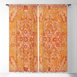 Orange Boho Oriental Vintage Traditional Moroccan Carpet style Design Blackout Curtain