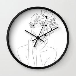 Dame fleur-Floral Illustration Woman, got the idea Wall Clock