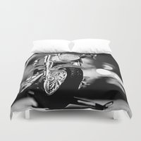 motorbike Duvet Covers featuring Motorbike-B&W by Yar's Photography