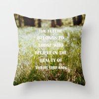 odd future Throw Pillows featuring Future by Nina Sinitskaya
