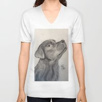 lab V-neck T-shirts featuring Chocolate Lab by Samicam