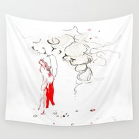 dress Wall Tapestries featuring Red Dress by Esteban Garza