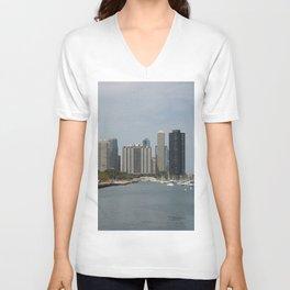 Chicago Shoreline, Skyline, Lake Michigan Unisex V-Neck