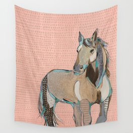 Dusty Pink Mustang Wall Tapestry