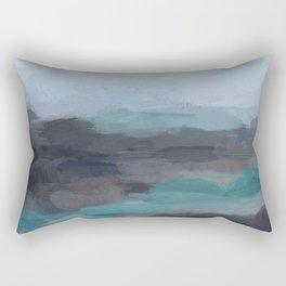 Mint Navy Blue Green Abstract Wall Art, Painting Art, Ocean Painting Print, Blue Water Rectangular Pillow