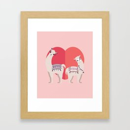 Llama and Alpaca with love Framed Art Print