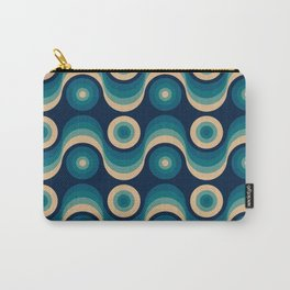 Blue Retro Waves Carry-All Pouch
