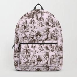 Alice in Wonderland | Toile de Jouy | Brown and Pink Backpack