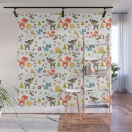 Cute Woodland Creatures Pattern Wall Mural