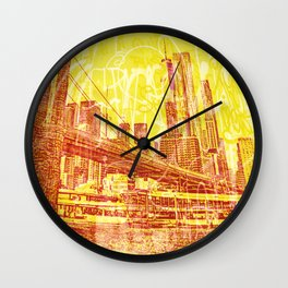 big yellow apple Wall Clock
