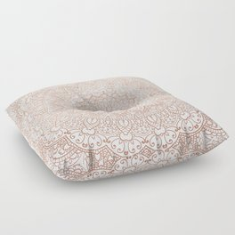 Mandala - rose gold and white marble 3 Floor Pillow