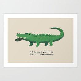 croc cannibalism Art Print