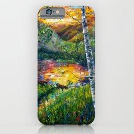 Sleeping Meadow - Colorado Moose Crossing by OLena Art iPhone Case