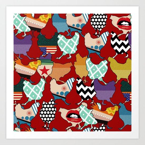 Cincinnati Chickens red Art Print