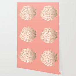 Rose White Gold Sands on Salmon Pink Wallpaper