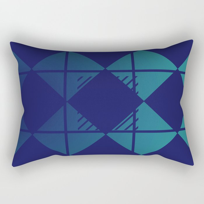 Blue,Diamond Shapes,Square Rectangular Pillow