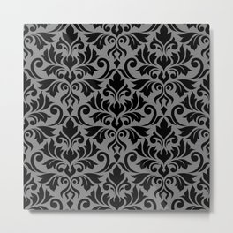 Flourish Damask Big Ptn Black on Gray Metal Print