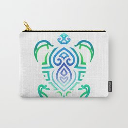Tribal Turtle on White Carry-All Pouch