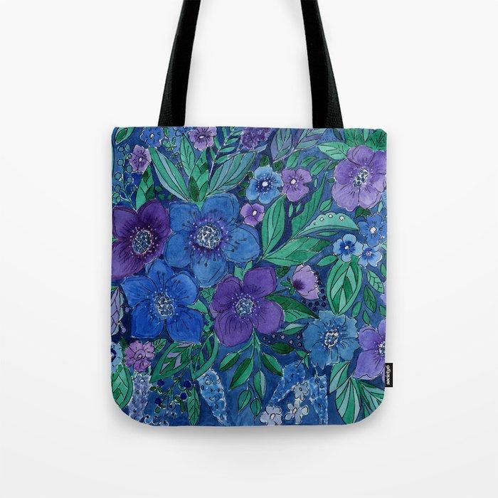 Watercolor . Blue flowers . Tote Bag