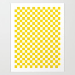 Small Checkered - White and Gold Yellow Art Print