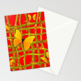 YELLOW BUTTERFLIES & RED THORN LATTICE Stationery Cards